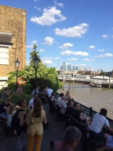 Wapping beer garden in London