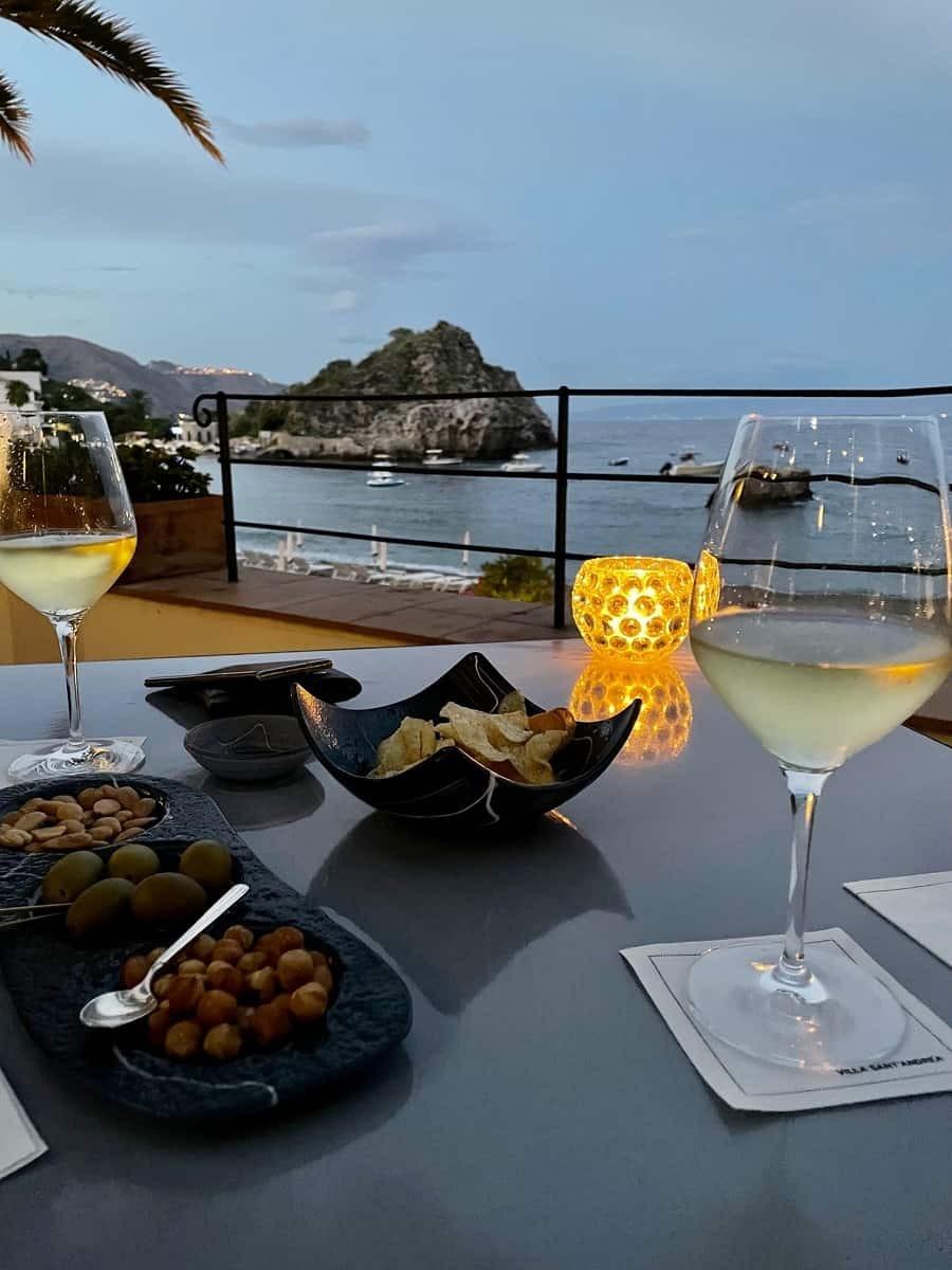 Drinks overlooking Mazzaro Bay