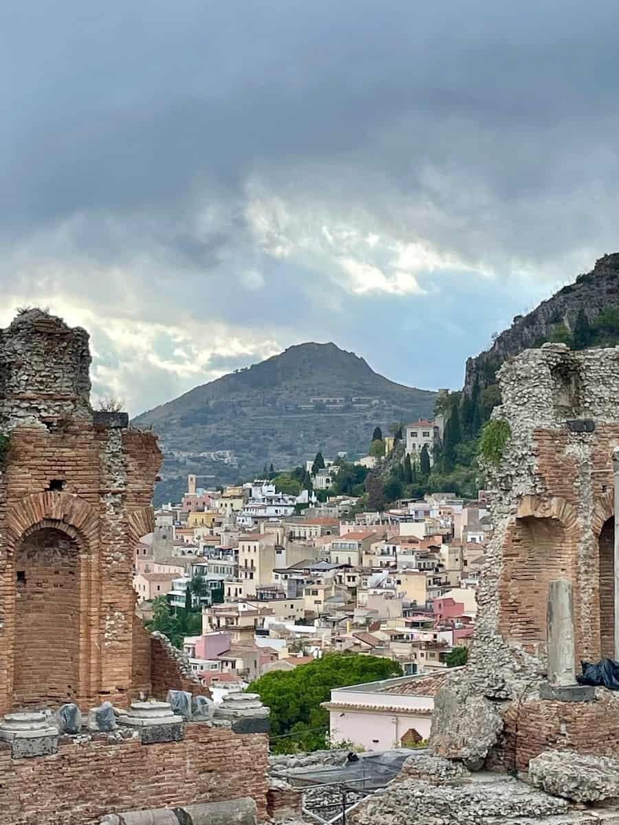 Views from Teatro Antico in Taormina