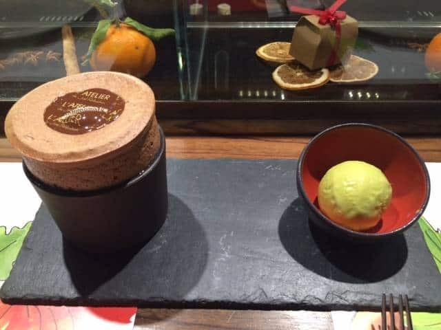 Guanaja chocolate soufflé with pistachio ice cream
