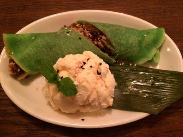 Coconut stuffed Thai Green pancakes