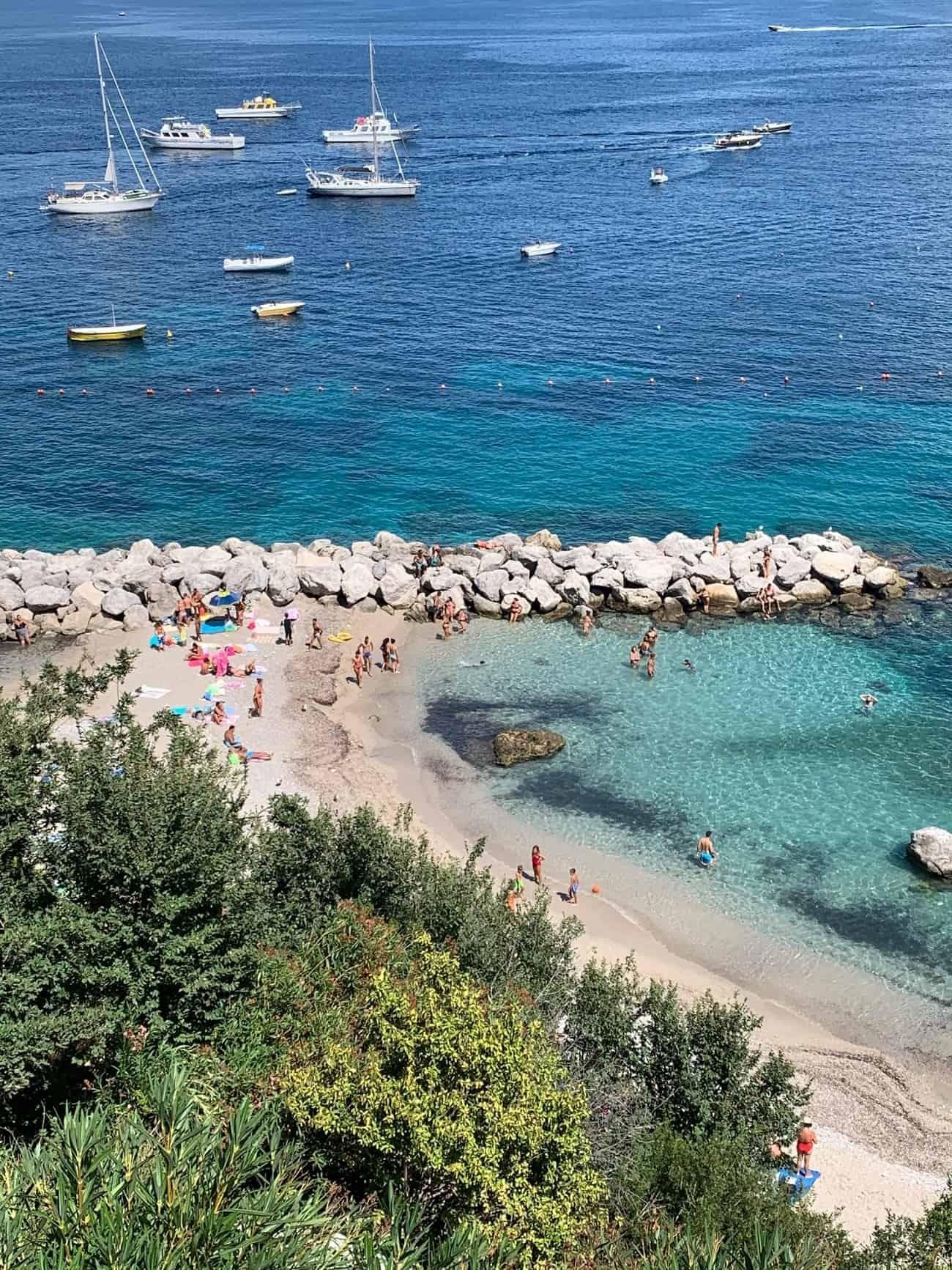 Free beach in Capri