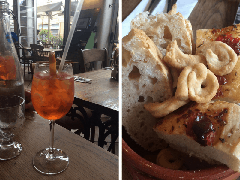 Aperol and bread basket