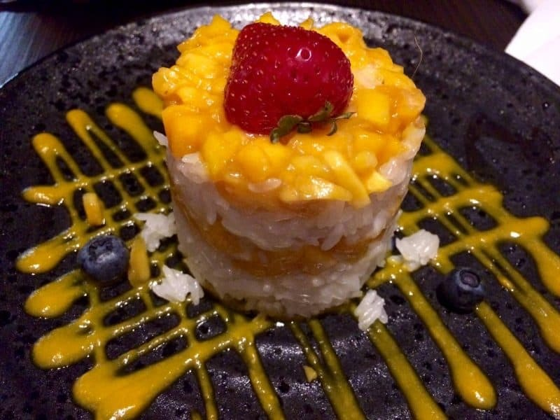 Mango and coconut sticky rice pudding