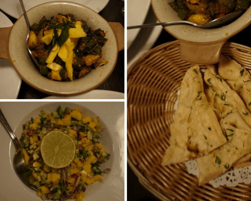 Mains of okra stir fry and naan