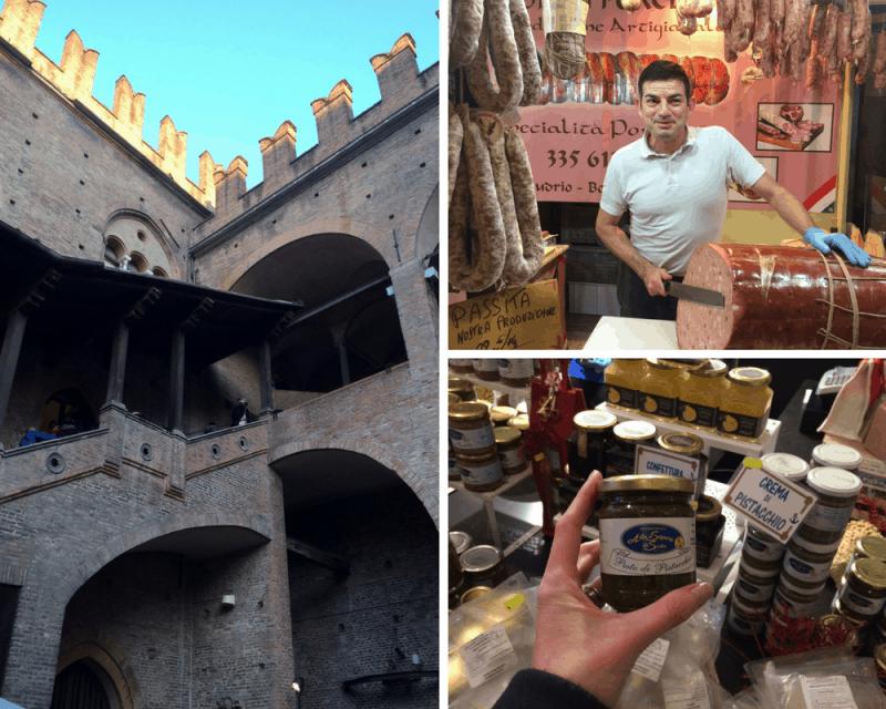 Market at Palazzo di re Enzo in Bologna