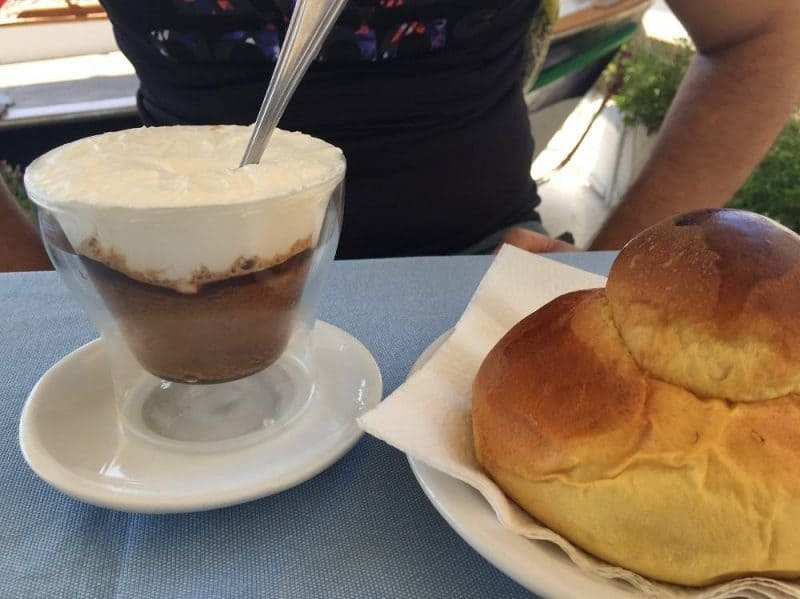 Sicilian coffee granita with brioche