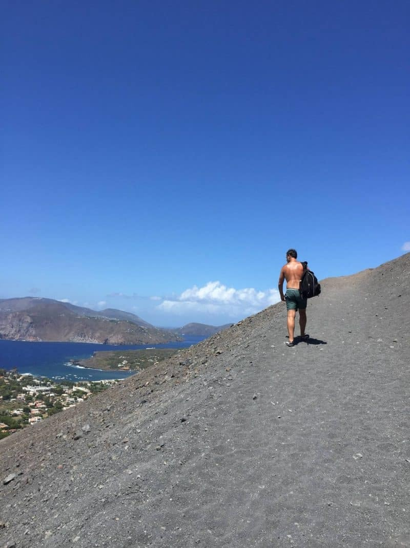Walking to the crater of vulcano