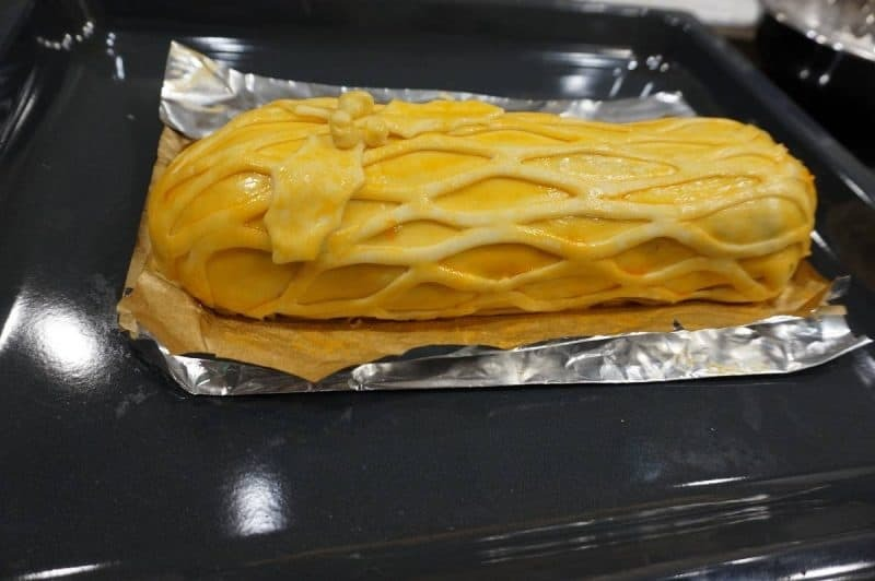 Pork Wellington before it goes in to the oven