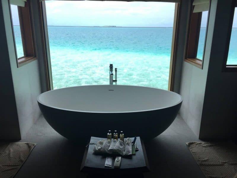 The bath with a view at Huvafen Fushi Maldives
