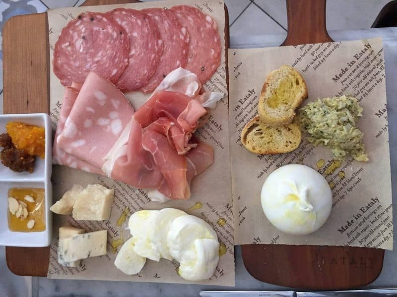 Salumi and mozzarella from Eataly in Boston
