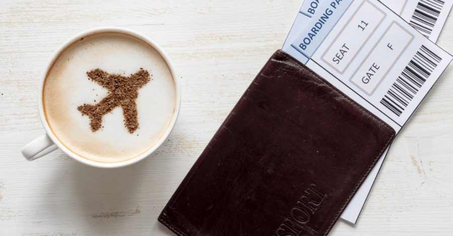 Boarding passes and a coffee