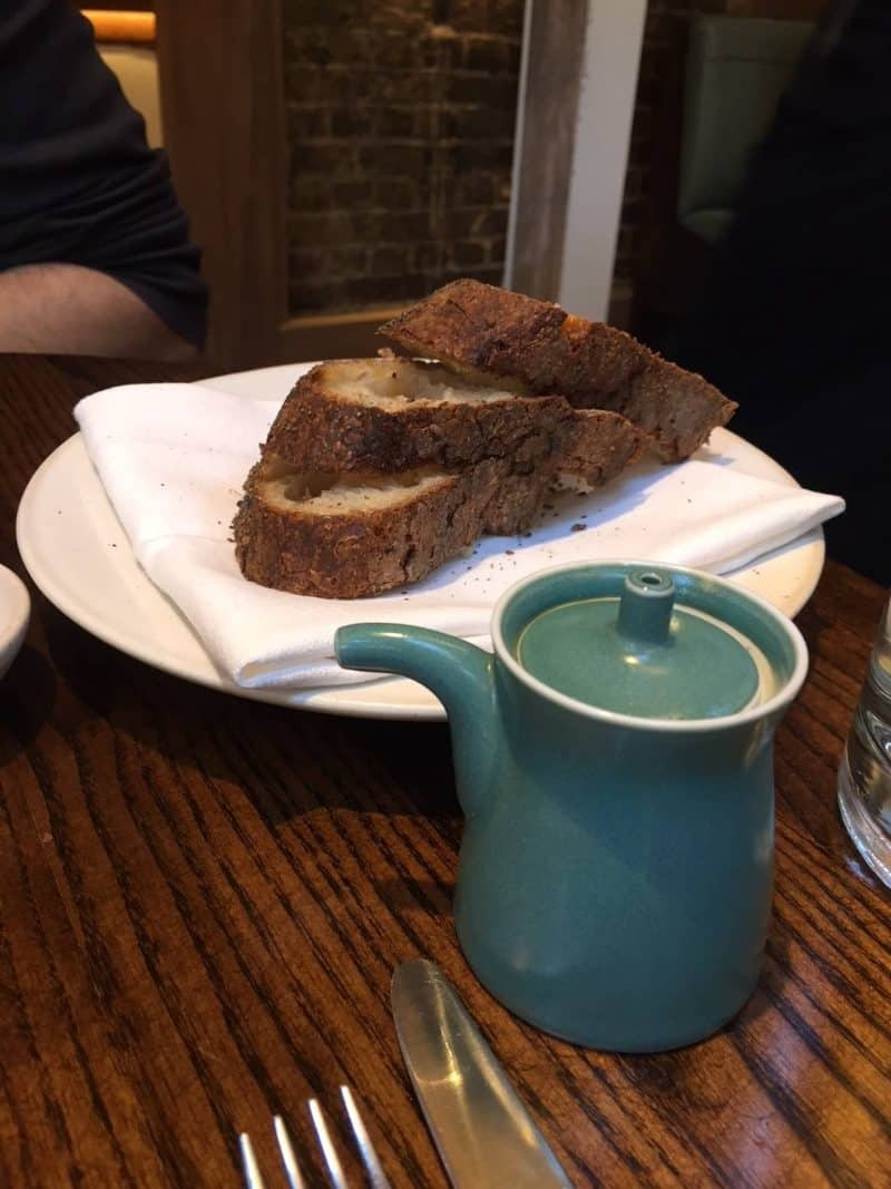 Fresh bread at Luca Restaurant in Clerkenwell