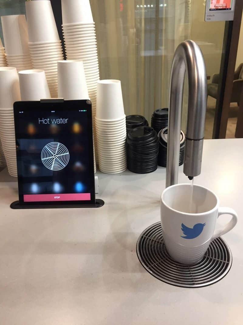 Drinks iPad at Twitter HQ