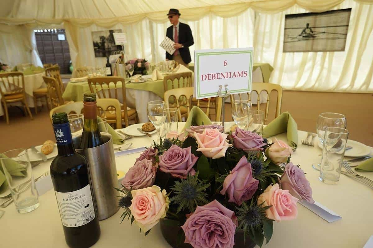 Debenhams table at Henley Regatta