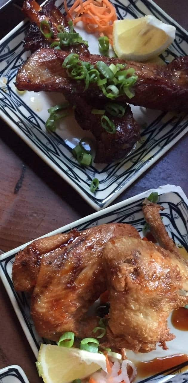 Sticky ribs and honey glazed chicken wings