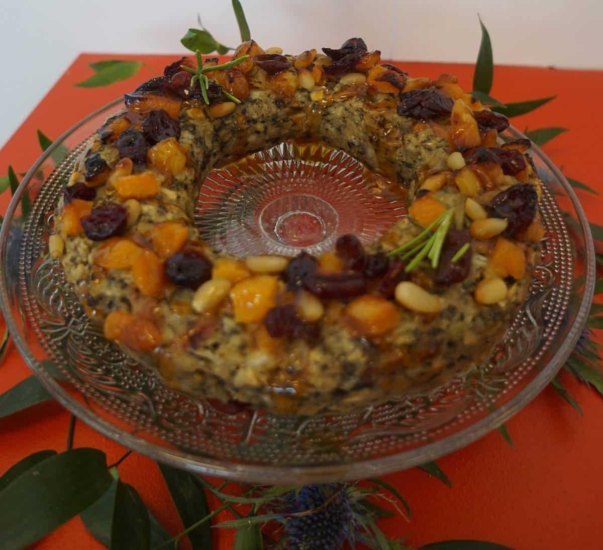 Vegan Festive Stuffing Wreath with Pomegranate Glaze