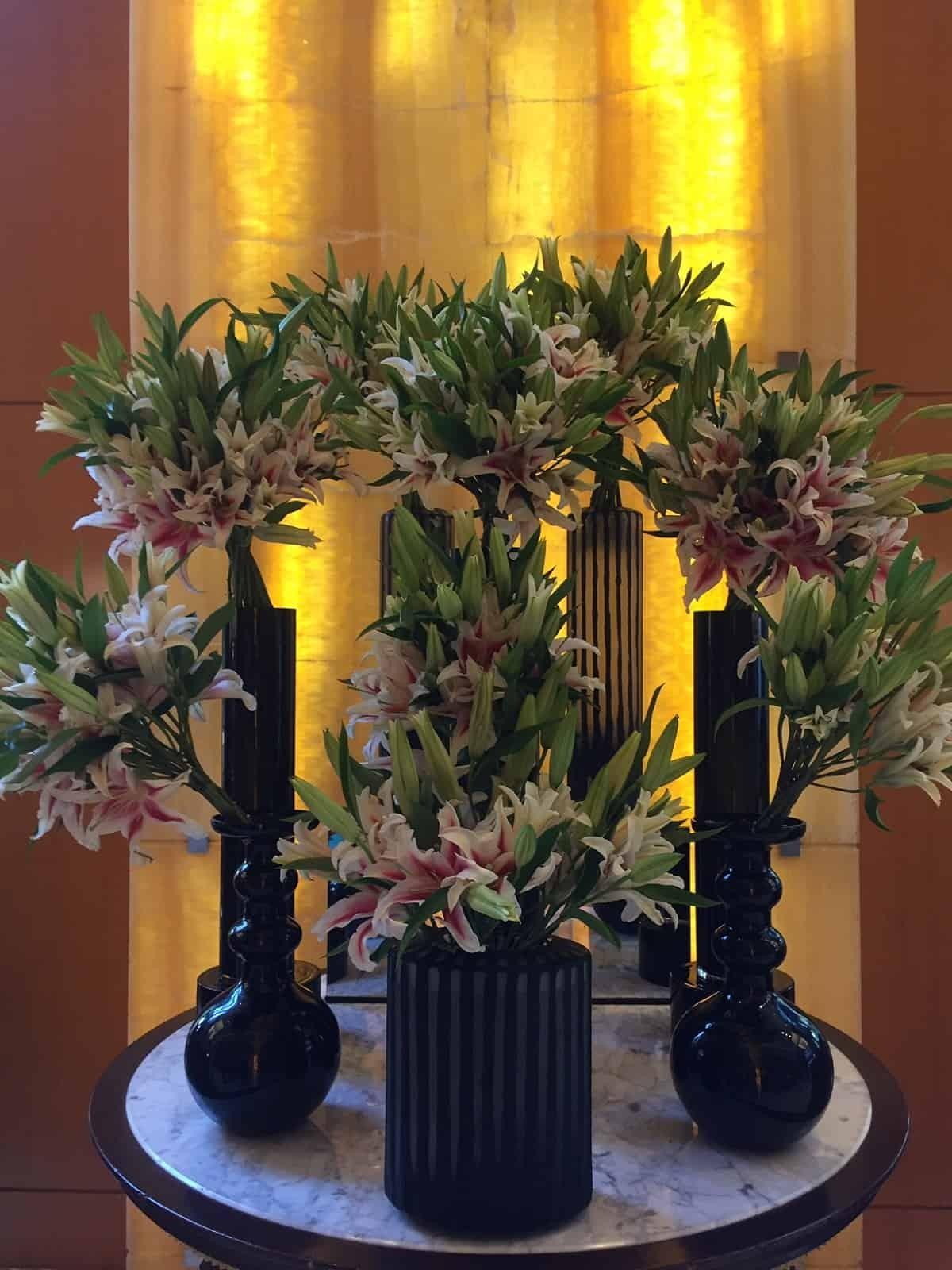 Fresh flowers in the lobby of Four Seasons Mumbai