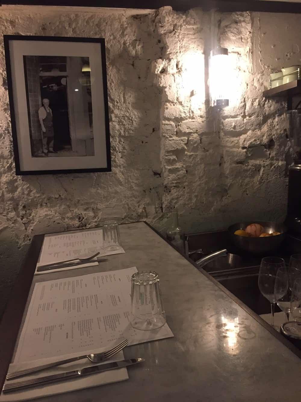 Bar seating at Lina Stores restaurant