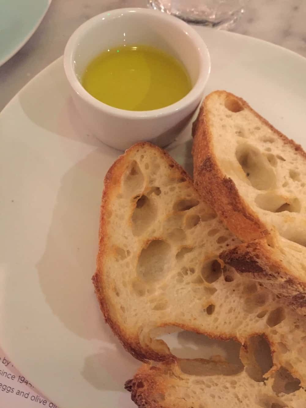 Bread with olive oil at Lina Stores