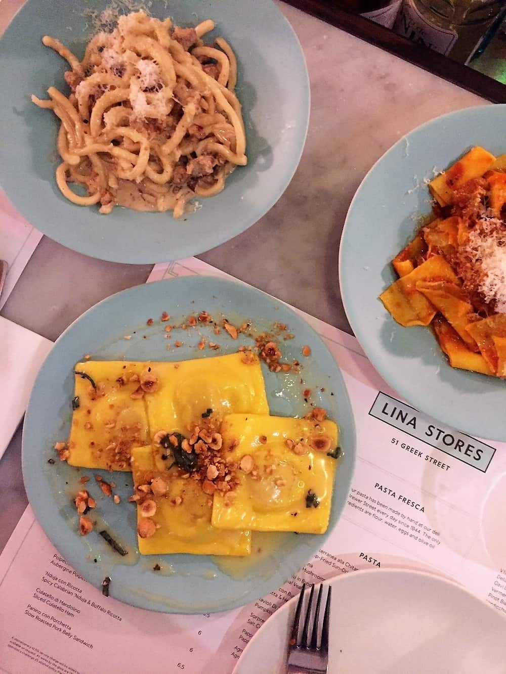 Fresh pasta dishes from Lina Stores