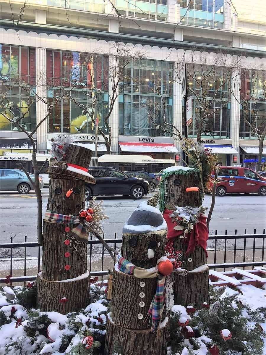 Christmas decorations along the Magnificent Mile