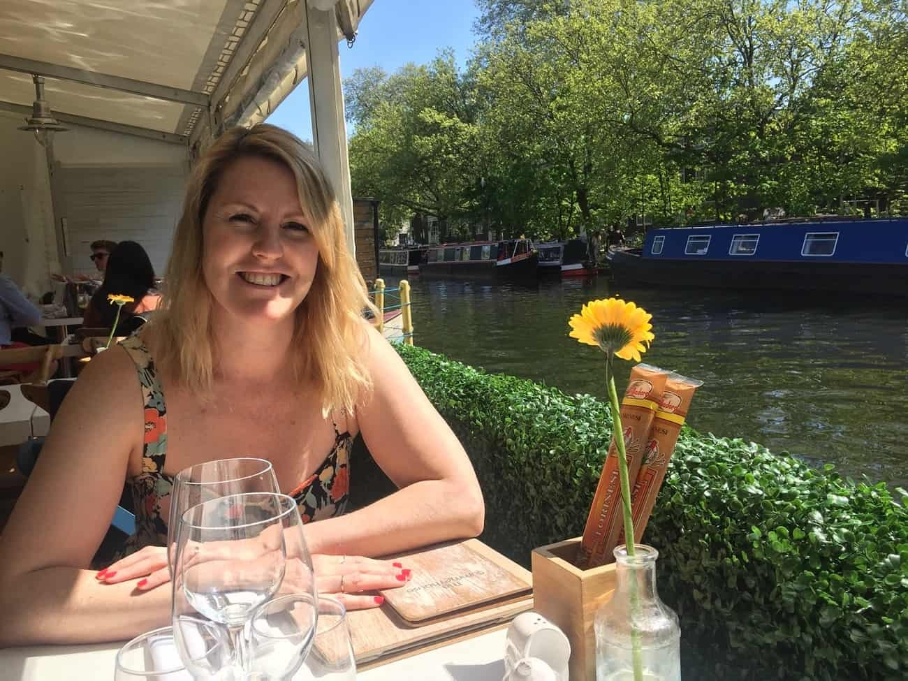 Dining canalside in the sun