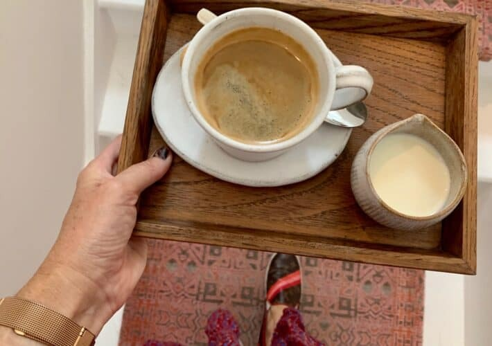 Coffee on a tray
