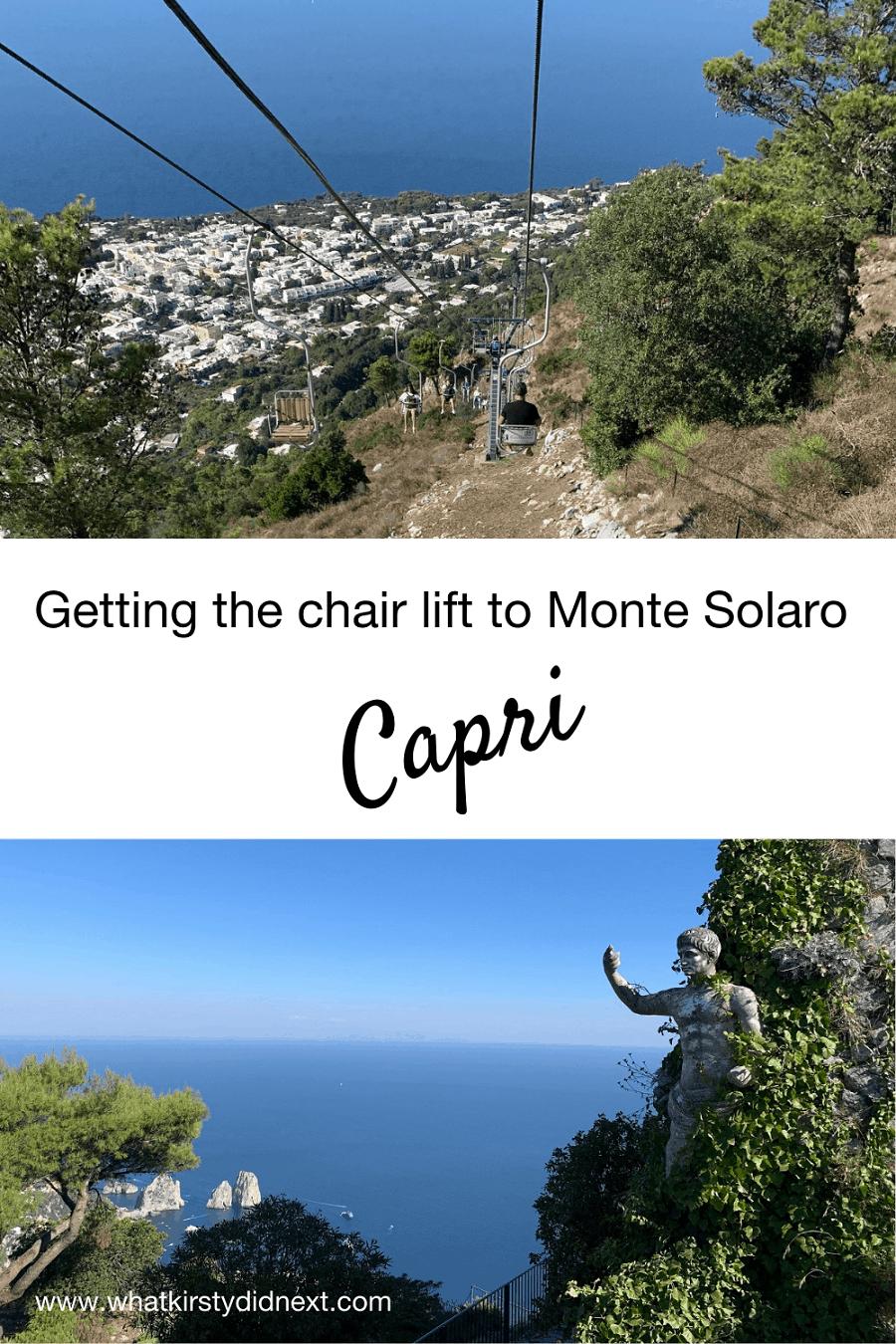 The chair lift to Monte Solaro in Capri