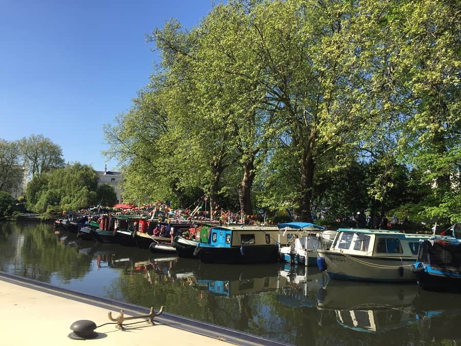 Barges lined up for the Canalway Cavalcade