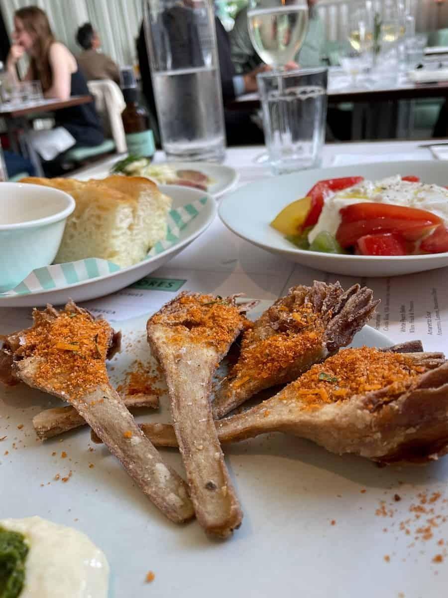 Fried artichoke starter at Lina Stores King's Cross