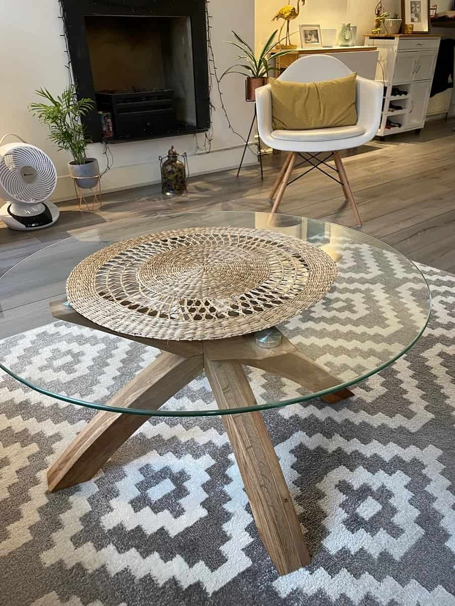 Glass top coffee table from Dunelm