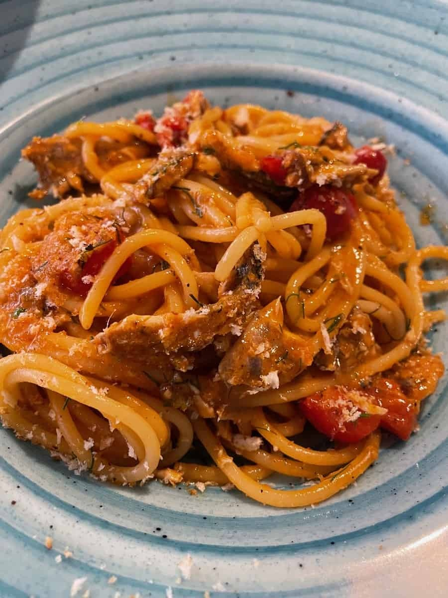 Pasta con le sarde from Gourmet 32 in Taormina